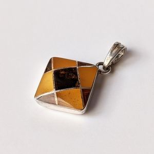 Jewelry - Sterling And Baltic Amber Checkerboard Pendant